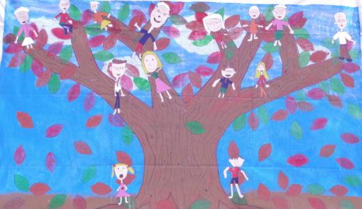 巨大絵画アーケード展17「つながるにじゅうの家族の絆」Global Village International Preschool 高槻茨木校