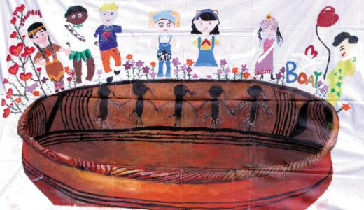 巨大絵画アーケード展21「つながるにじゅうの未来」博愛小学校陶芸社団 (友好都市 常州市)